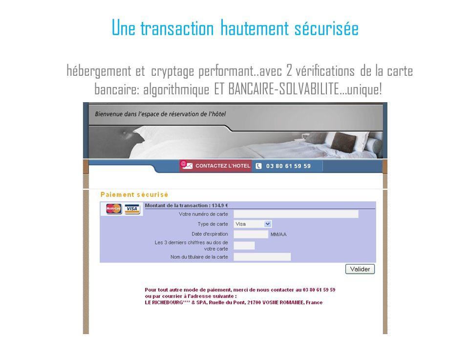 Une transaction hautement sécurisée hébergement et cryptage performant..avec 2 vérifications de la carte bancaire: algorithmique ET BANCAIRE-SOLVABILI