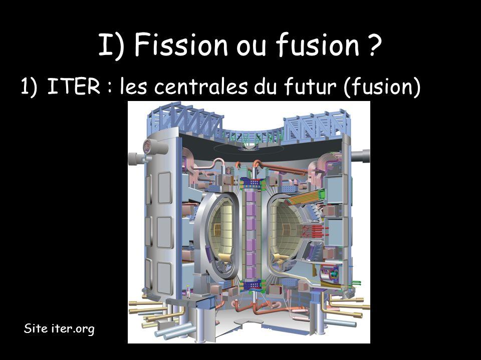 I) Fission ou fusion ? 1)ITER : les centrales du futur (fusion) Site iter.org