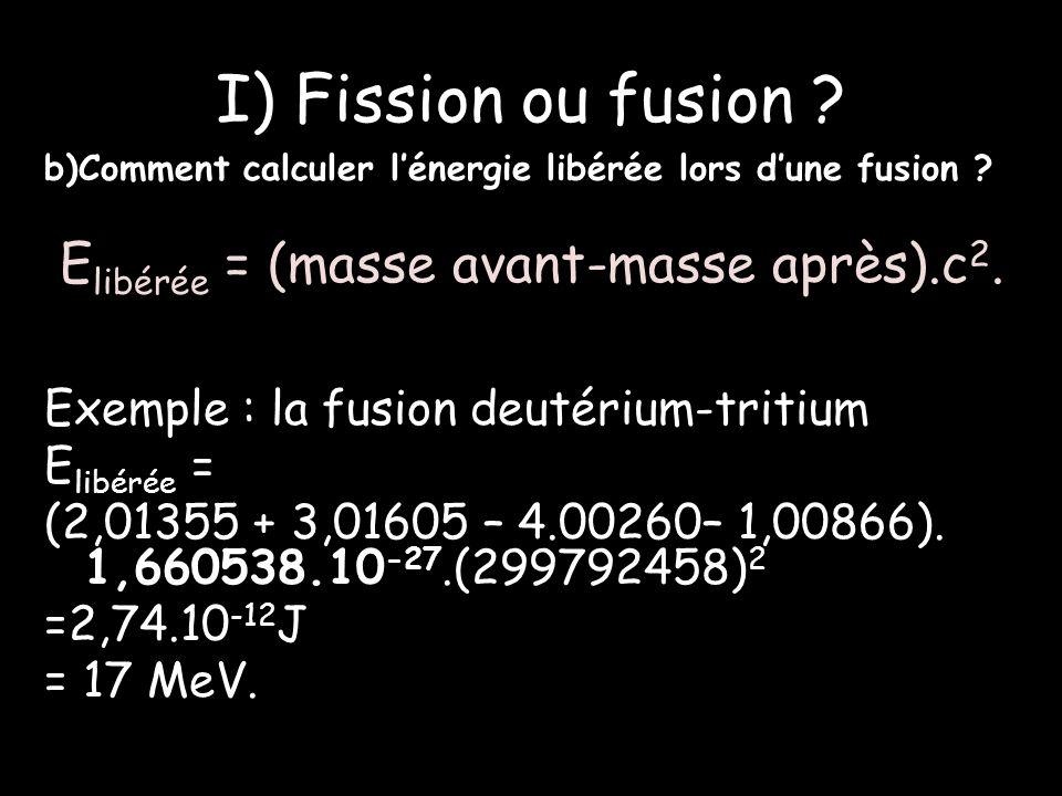 I) Fission ou fusion .b)Comment calculer lénergie libérée lors dune fusion .