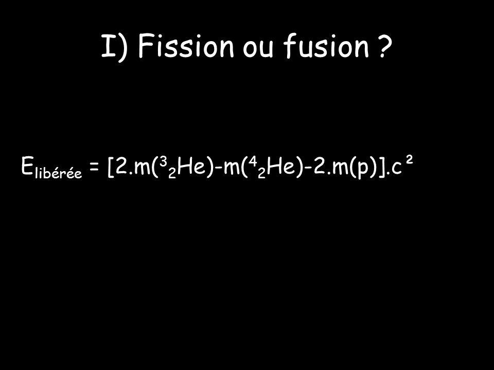I) Fission ou fusion ? E libérée = [2.m( 3 2 He)-m( 4 2 He)-2.m(p)].c²