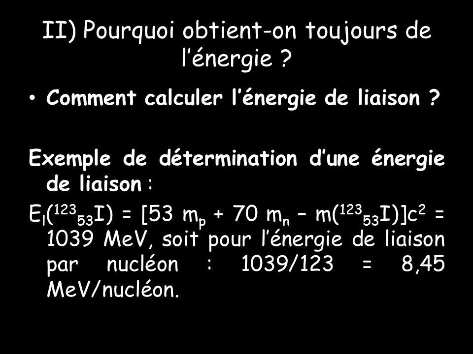 II) Pourquoi obtient-on toujours de lénergie .Comment calculer lénergie de liaison .