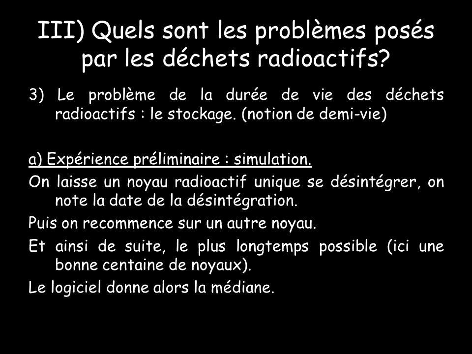 III) Quels sont les problèmes posés par les déchets radioactifs.