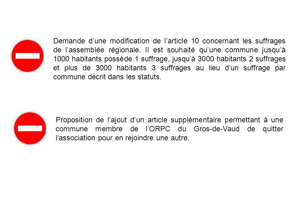 Demande dune modification de larticle 10 concernant les suffrages de lassemblée régionale. Il est souhaité quune commune jusquà 1000 habitants possède