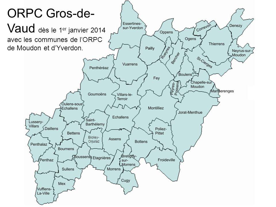 ORPC Gros-de- Vaud dès le 1 er janvier 2014 avec les communes de lORPC de Moudon et dYverdon. Bioley- Orjulaz