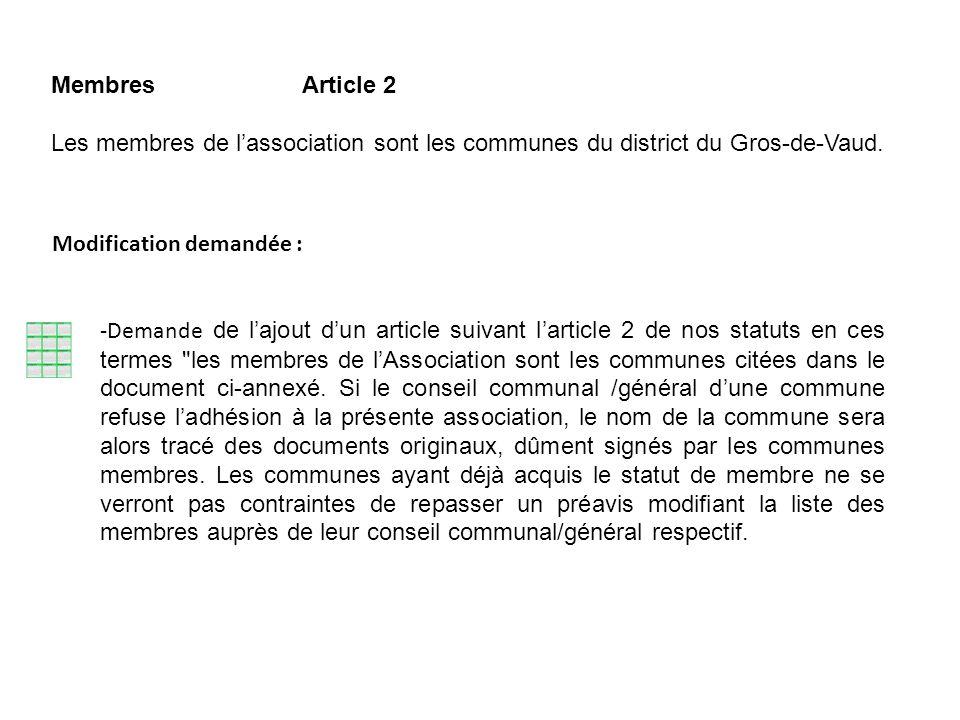 Membres Article 2 Les membres de lassociation sont les communes du district du Gros-de-Vaud. Modification demandée : -Demande de lajout dun article su