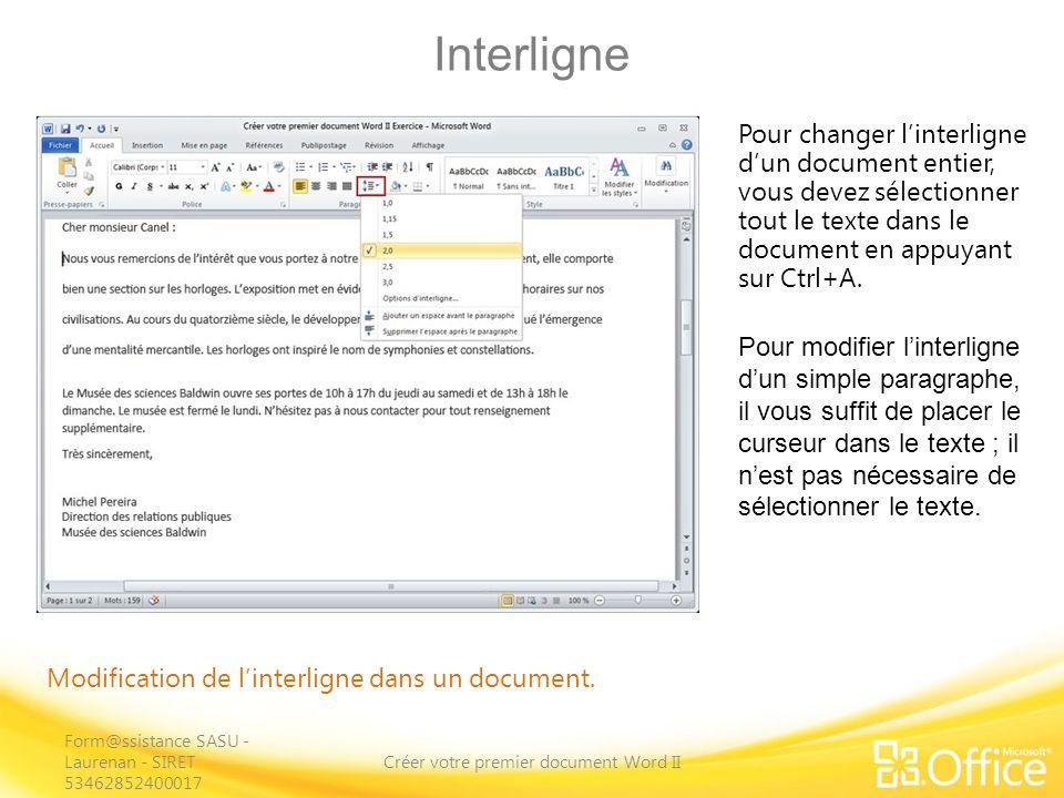 Interligne Créer votre premier document Word II Modification de linterligne dans un document.
