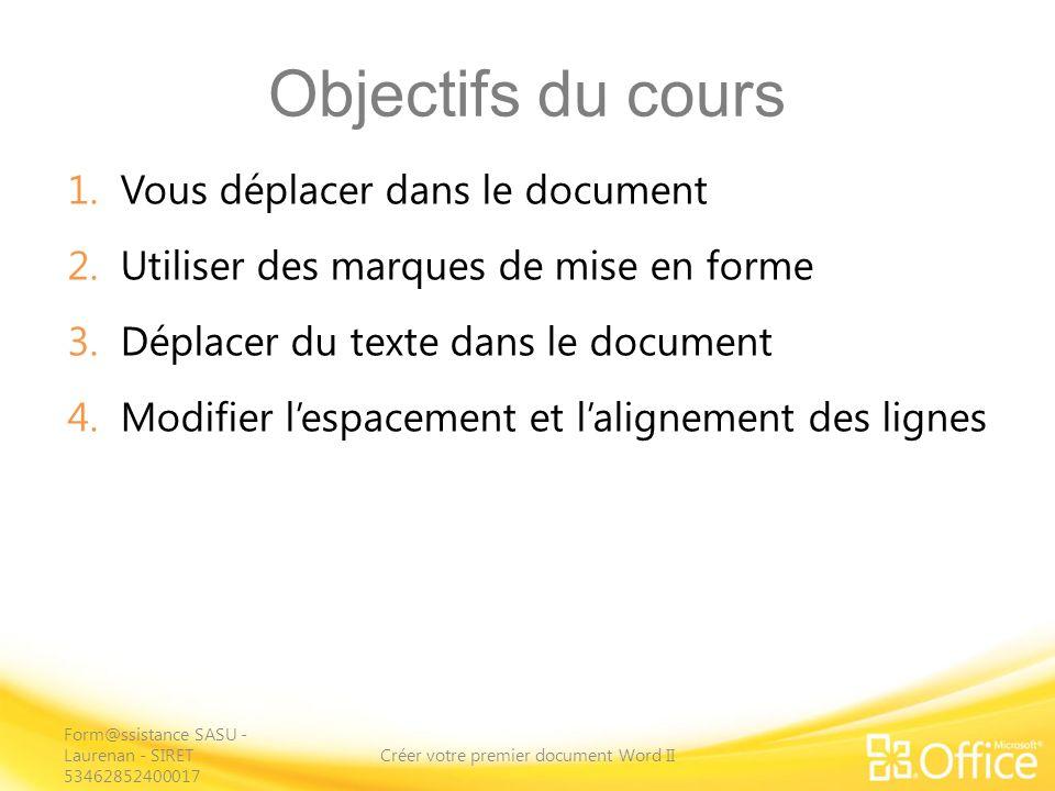 Objectifs du cours 1.Vous déplacer dans le document 2.Utiliser des marques de mise en forme 3.Déplacer du texte dans le document 4.Modifier lespacement et lalignement des lignes Créer votre premier document Word II Form@ssistance SASU - Laurenan - SIRET 53462852400017