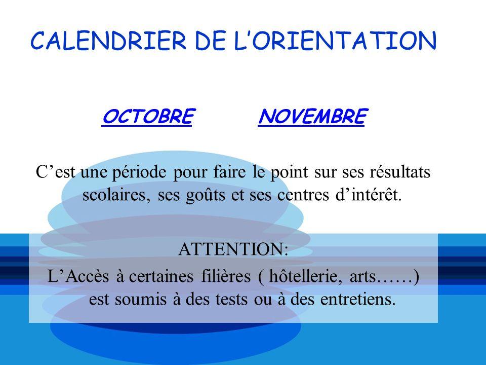 CALENDRIER DE LORIENTATION OCTOBRE NOVEMBRE Cest une période pour faire le point sur ses résultats scolaires, ses goûts et ses centres dintérêt. ATTEN