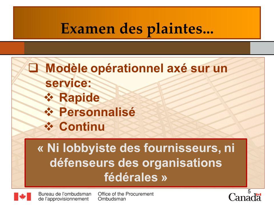 Examen des plaintes... Modèle opérationnel axé sur un service: Rapide Personnalisé Continu 5 « Ni lobbyiste des fournisseurs, ni défenseurs des organi