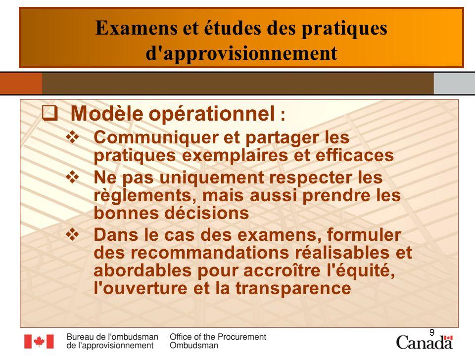 Examens et études des pratiques d'approvisionnement Modèle opérationnel : Communiquer et partager les pratiques exemplaires et efficaces Ne pas unique