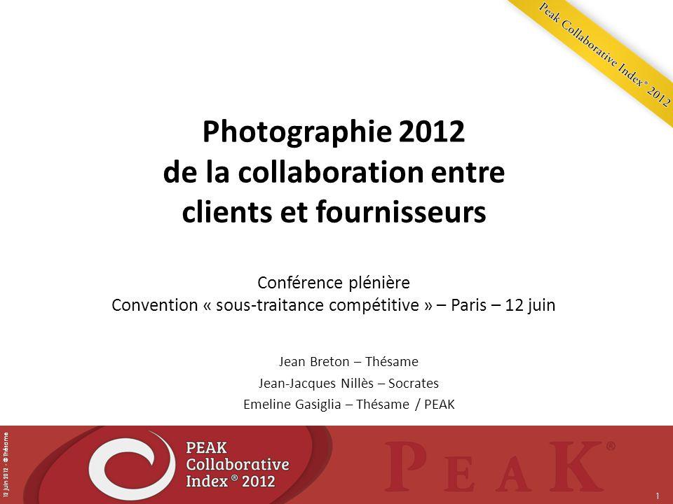 12 juin 2012 - © Thésame 1 Photographie 2012 de la collaboration entre clients et fournisseurs Conférence plénière Convention « sous-traitance compéti