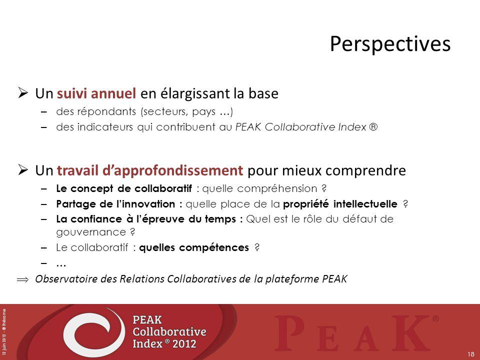 12 juin 2012 - © Thésame 18 Perspectives Un suivi annuel en élargissant la base – des répondants (secteurs, pays …) – des indicateurs qui contribuent