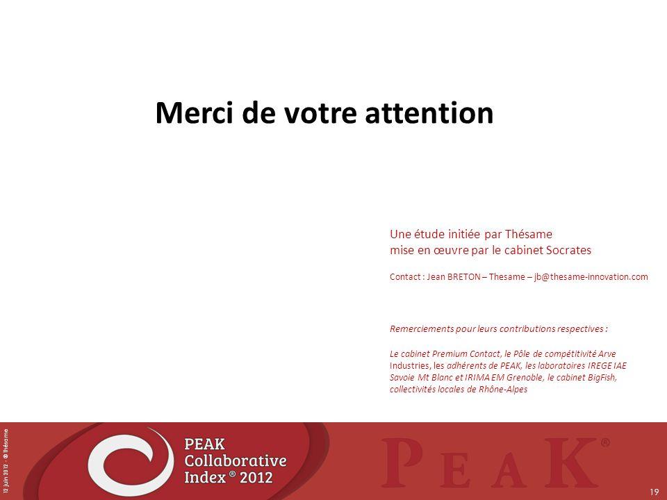 12 juin 2012 - © Thésame 19 Merci de votre attention Une étude initiée par Thésame mise en œuvre par le cabinet Socrates Contact : Jean BRETON – Thesa