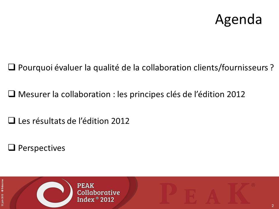 12 juin 2012 - © Thésame 2 Agenda Pourquoi évaluer la qualité de la collaboration clients/fournisseurs ? Mesurer la collaboration : les principes clés