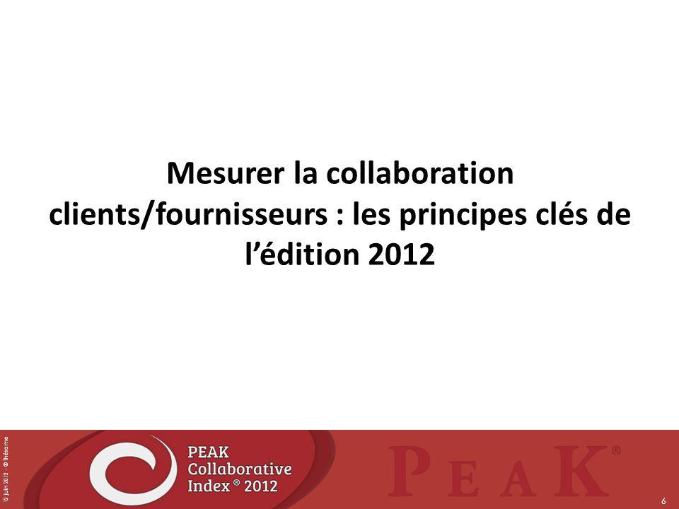 12 juin 2012 - © Thésame 6 Mesurer la collaboration clients/fournisseurs : les principes clés de lédition 2012