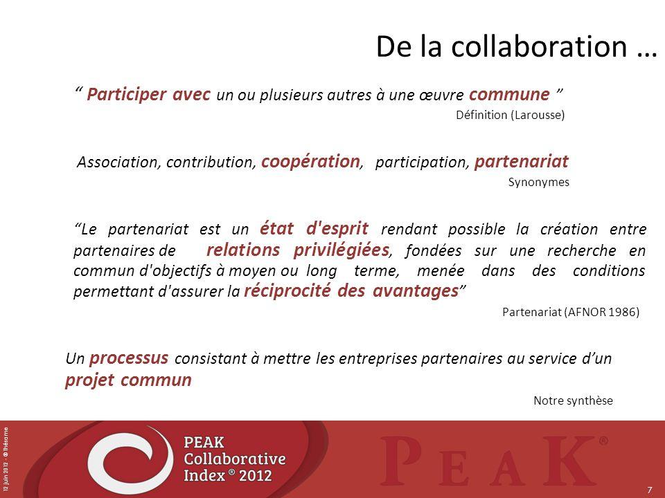 12 juin 2012 - © Thésame 7 De la collaboration … Participer avec un ou plusieurs autres à une œuvre commune Définition (Larousse) Association, contrib