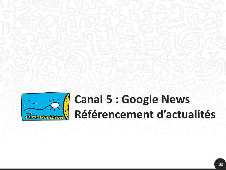 28 Canal 5 : Google News Référencement dactualités