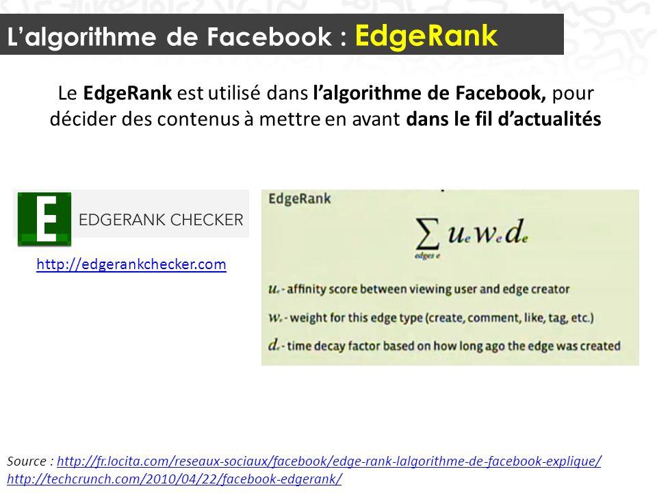 Lalgorithme de Facebook : EdgeRank 33 Source : http://fr.locita.com/reseaux-sociaux/facebook/edge-rank-lalgorithme-de-facebook-explique/http://fr.locita.com/reseaux-sociaux/facebook/edge-rank-lalgorithme-de-facebook-explique/ http://techcrunch.com/2010/04/22/facebook-edgerank/ Le EdgeRank est utilisé dans lalgorithme de Facebook, pour décider des contenus à mettre en avant dans le fil dactualités http://edgerankchecker.com