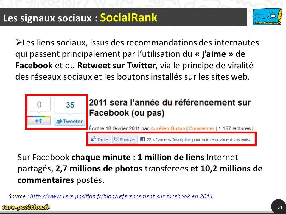 Les signaux sociaux : SocialRank 34 Les liens sociaux, issus des recommandations des internautes qui passent principalement par lutilisation du « jaime » de Facebook et du Retweet sur Twitter, via le principe de viralité des réseaux sociaux et les boutons installés sur les sites web.