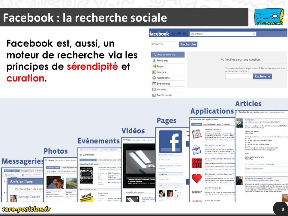 La recherche devient sociale et en temps réel 9 Twitter est un moteur de recherche instantanée, de signaux sociaux : Evénements et activités sociales, Actualités et veille, buzz images et vidéos, également par sérendipité et curation.