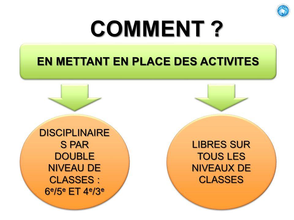 EN METTANT EN PLACE DES ACTIVITES COMMENT ? DISCIPLINAIRE S PAR DOUBLE NIVEAU DE CLASSES : 6 e /5 e ET 4 e /3 e DISCIPLINAIRE S PAR DOUBLE NIVEAU DE C