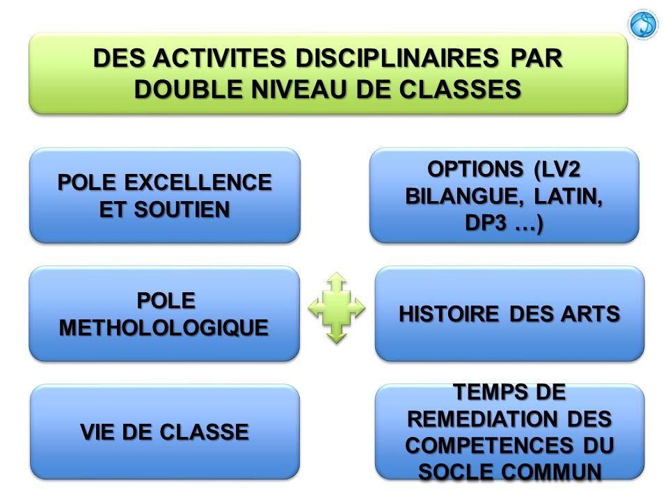 DES ACTIVITES DISCIPLINAIRES PAR DOUBLE NIVEAU DE CLASSES POLE EXCELLENCE ET SOUTIEN HISTOIRE DES ARTS VIE DE CLASSE OPTIONS (LV2 BILANGUE, LATIN, DP3