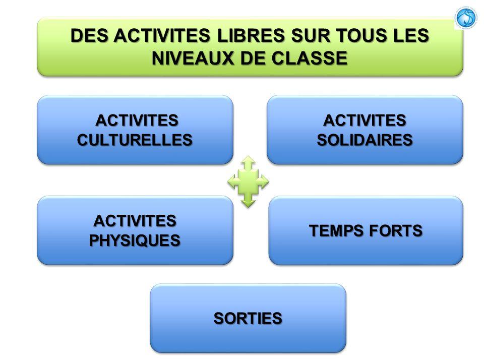 DES ACTIVITES LIBRES SUR TOUS LES NIVEAUX DE CLASSE ACTIVITES CULTURELLES ACTIVITES CULTURELLES ACTIVITES PHYSIQUES SORTIESSORTIES TEMPS FORTS ACTIVIT