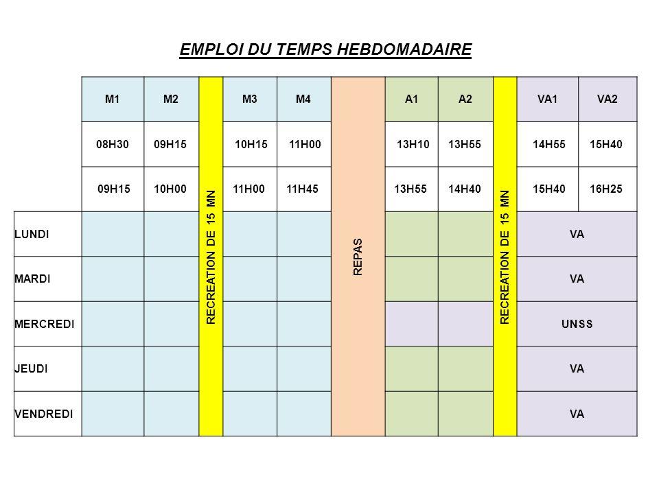 EMPLOI DU TEMPS HEBDOMADAIRE M1M2 RECREATION DE 15 MN M3M4 REPAS A1A2 RECREATION DE 15 MN VA1VA2 08H3009H15 10H15 11H00 13H1013H55 14H5515H40 09H1510H