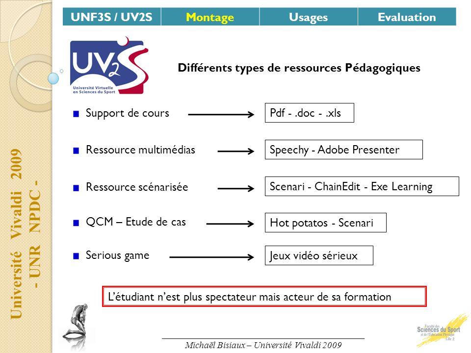 Université Vivaldi 2009 - UNR NPDC - UNF3S / UV2SMontageUsagesEvaluation Différents types de ressources Pédagogiques Support de cours Pdf -.doc -.xls