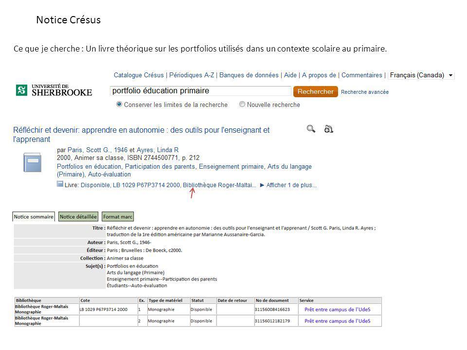 Notice Crésus Ce que je cherche : Un livre théorique sur les portfolios utilisés dans un contexte scolaire au primaire.