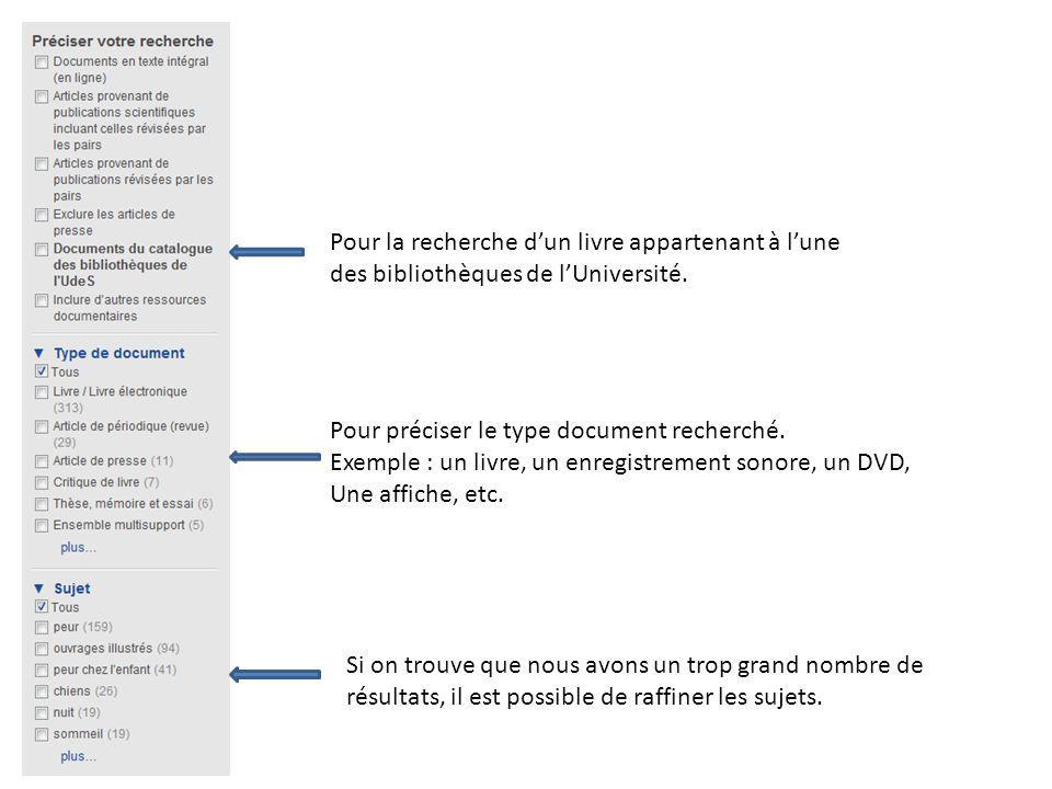 Pour la recherche dun livre appartenant à lune des bibliothèques de lUniversité. Pour préciser le type document recherché. Exemple : un livre, un enre