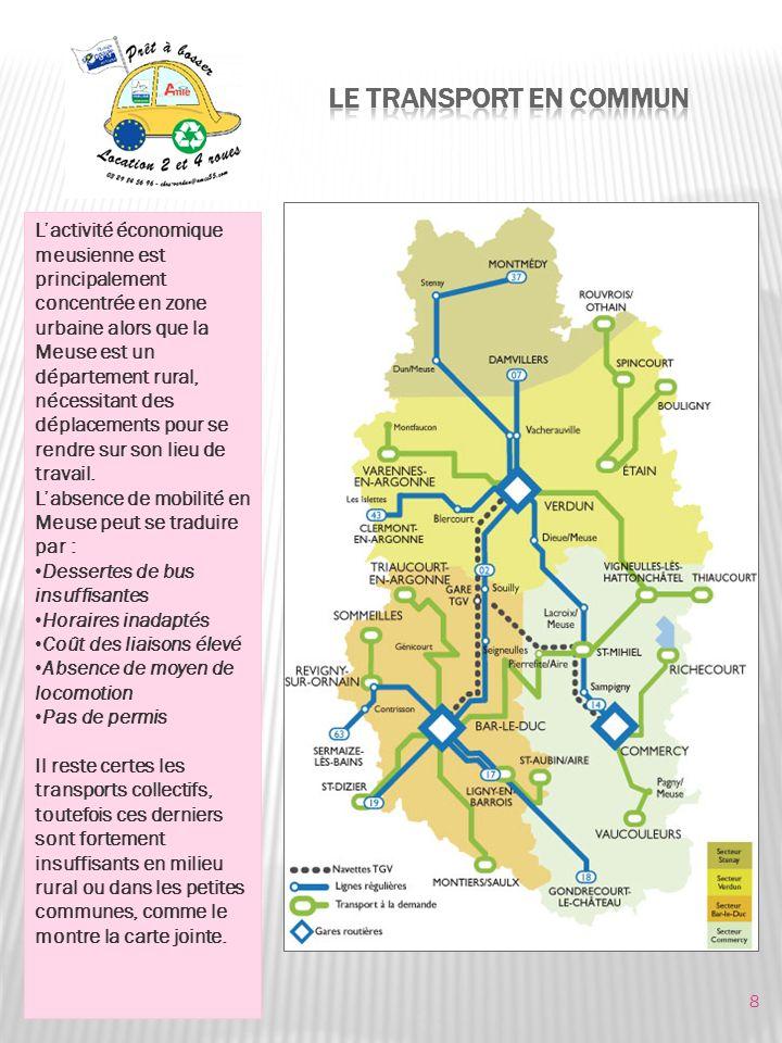 Lactivité économique meusienne est principalement concentrée en zone urbaine alors que la Meuse est un département rural, nécessitant des déplacements pour se rendre sur son lieu de travail.