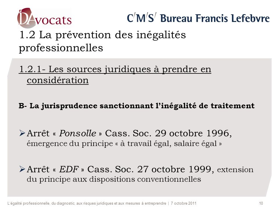 1.2 La prévention des inégalités professionnelles 1.2.1- Les sources juridiques à prendre en considération B- La jurisprudence sanctionnant linégalité