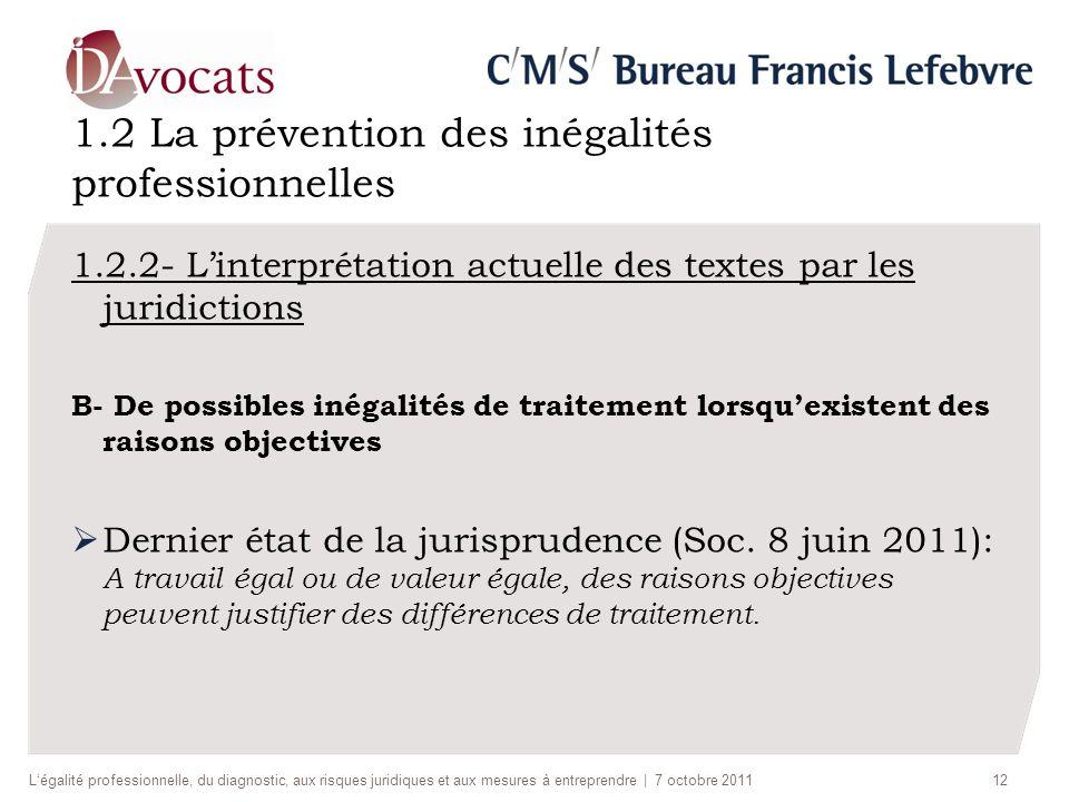 1.2 La prévention des inégalités professionnelles 1.2.2- Linterprétation actuelle des textes par les juridictions B- De possibles inégalités de traite