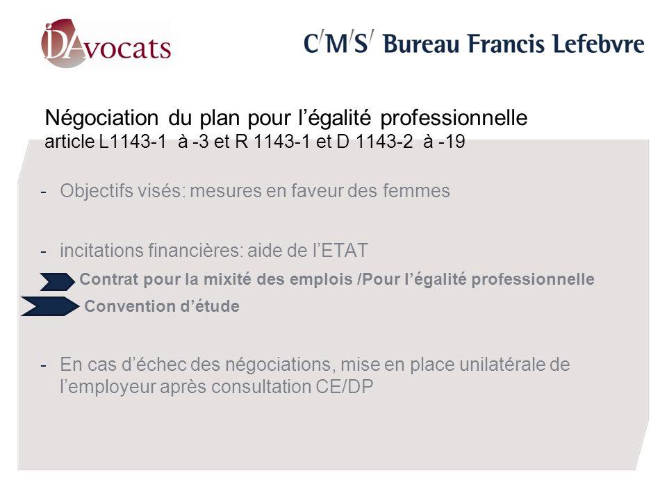 Négociation du plan pour légalité professionnelle article L1143-1 à -3 et R 1143-1 et D 1143-2 à -19 -Objectifs visés: mesures en faveur des femmes -incitations financières: aide de lETAT -Contrat pour la mixité des emplois /Pour légalité professionnelle - Convention détude -En cas déchec des négociations, mise en place unilatérale de lemployeur après consultation CE/DP