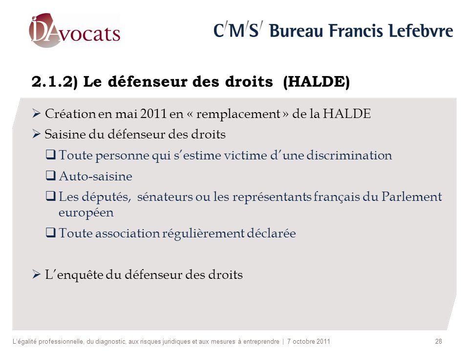 2.1.2) Le défenseur des droits (HALDE) Création en mai 2011 en « remplacement » de la HALDE Saisine du défenseur des droits Toute personne qui sestime