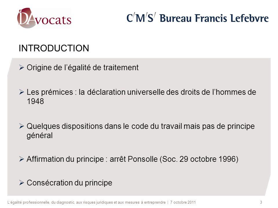 INTRODUCTION Origine de légalité de traitement Les prémices : la déclaration universelle des droits de lhommes de 1948 Quelques dispositions dans le c