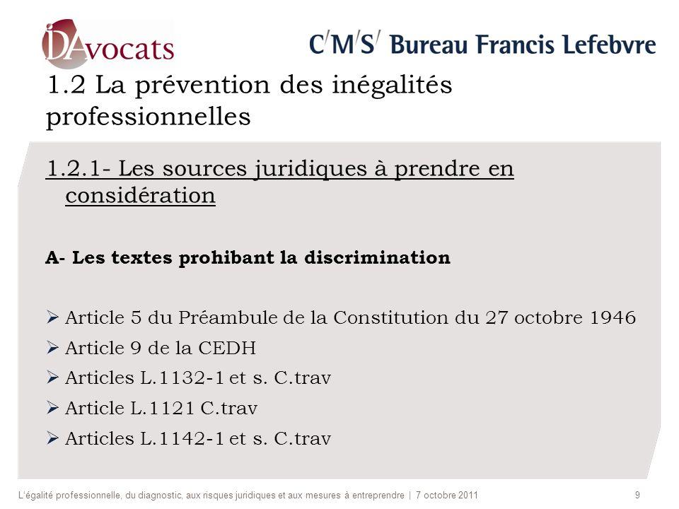 1.2 La prévention des inégalités professionnelles 1.2.1- Les sources juridiques à prendre en considération A- Les textes prohibant la discrimination Article 5 du Préambule de la Constitution du 27 octobre 1946 Article 9 de la CEDH Articles L.1132-1 et s.