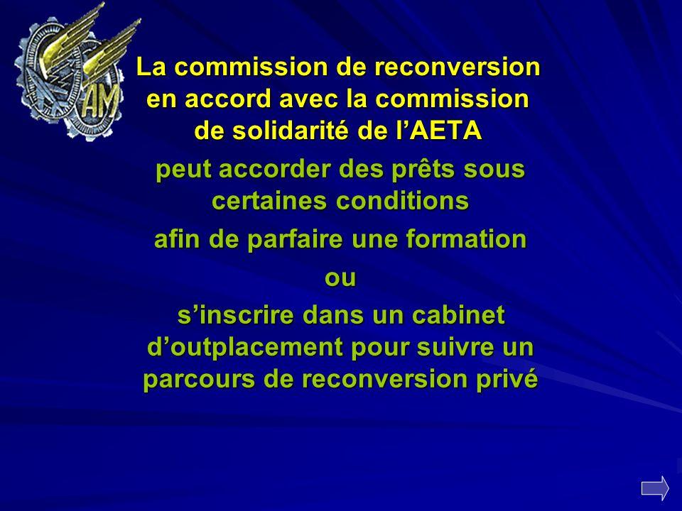 La commission de reconversion en accord avec la commission de solidarité de lAETA peut accorder des prêts sous certaines conditions afin de parfaire u