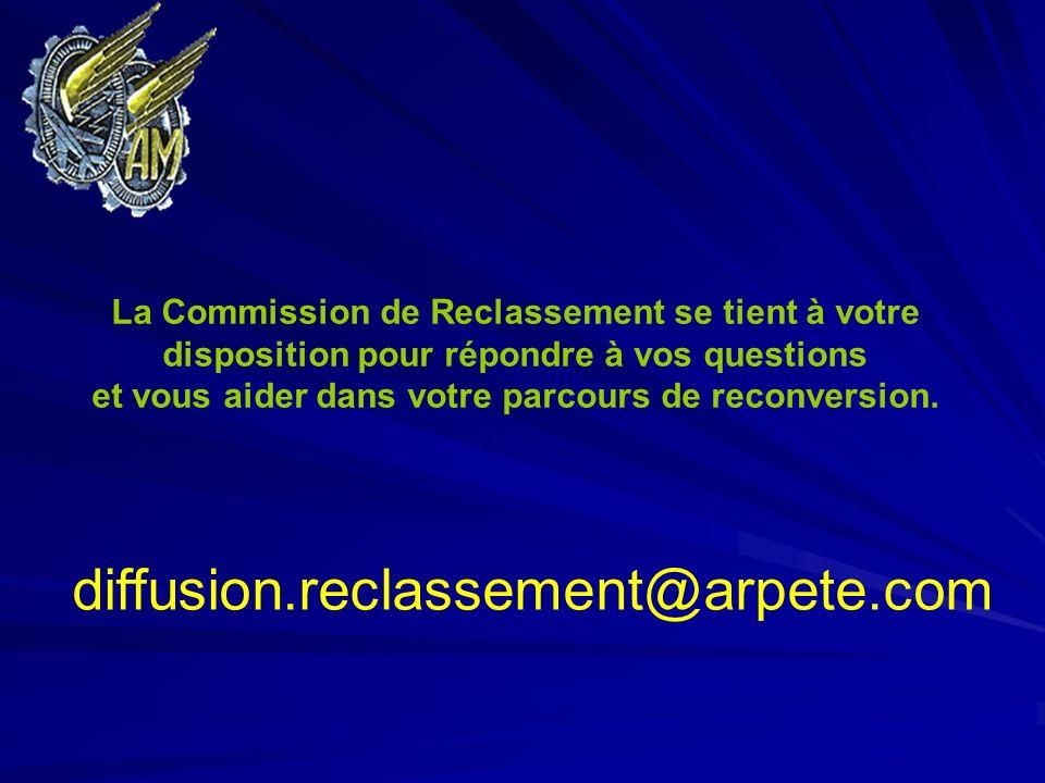 La Commission de Reclassement se tient à votre disposition pour répondre à vos questions et vous aider dans votre parcours de reconversion. diffusion.
