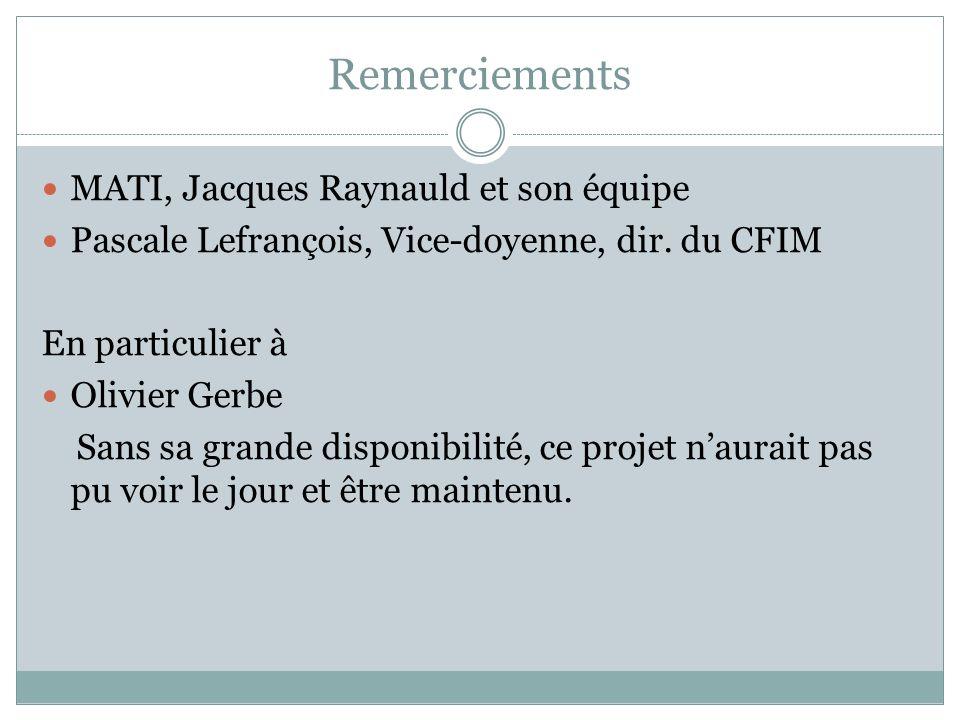 Remerciements MATI, Jacques Raynauld et son équipe Pascale Lefrançois, Vice-doyenne, dir.
