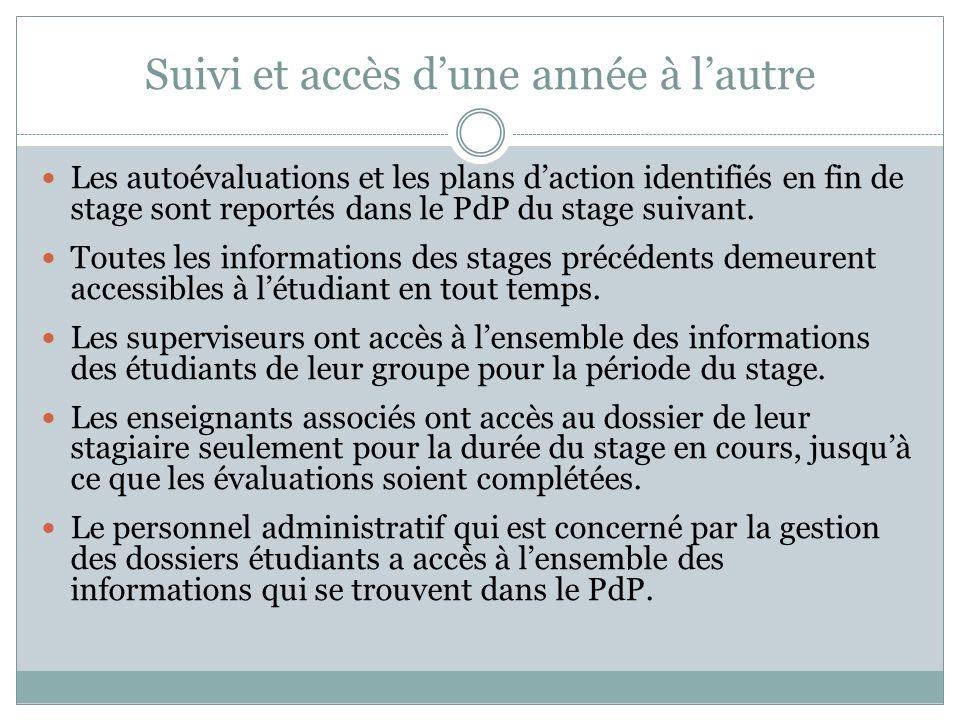 Suivi et accès dune année à lautre Les autoévaluations et les plans daction identifiés en fin de stage sont reportés dans le PdP du stage suivant.
