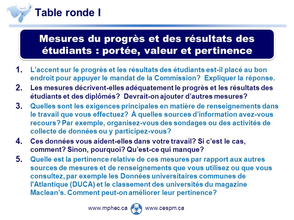 Table ronde I 1.