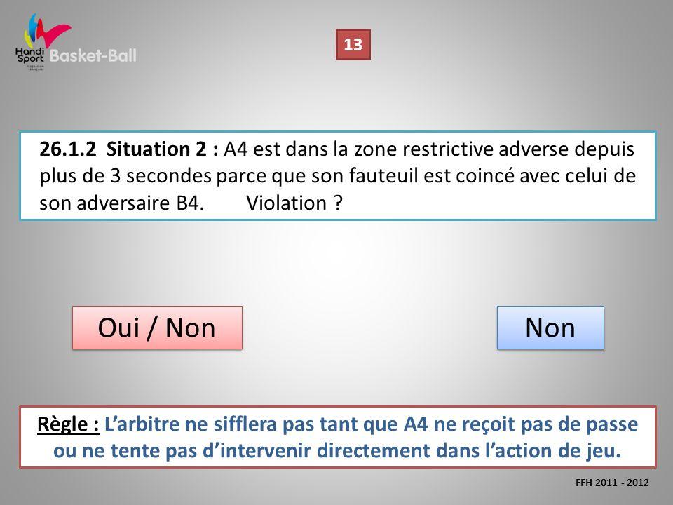 26.1.2Situation 2 : A4 est dans la zone restrictive adverse depuis plus de 3 secondes parce que son fauteuil est coincé avec celui de son adversaire B4.