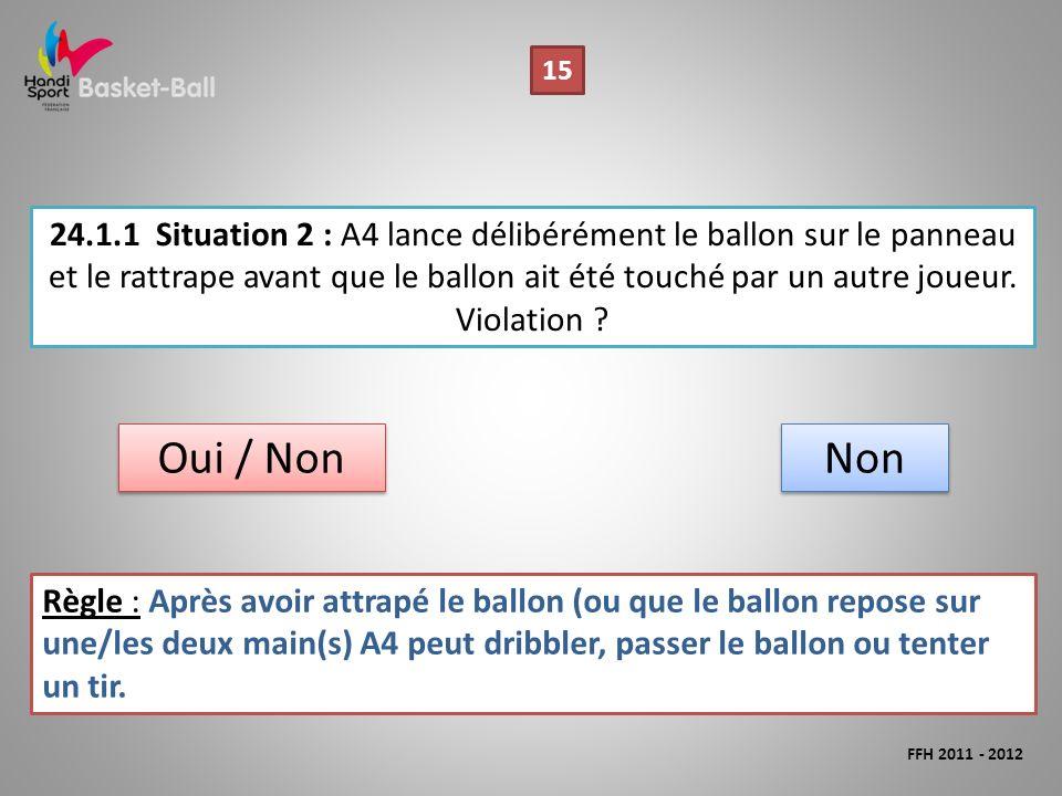 24.1.1Situation 2 : A4 lance délibérément le ballon sur le panneau et le rattrape avant que le ballon ait été touché par un autre joueur.