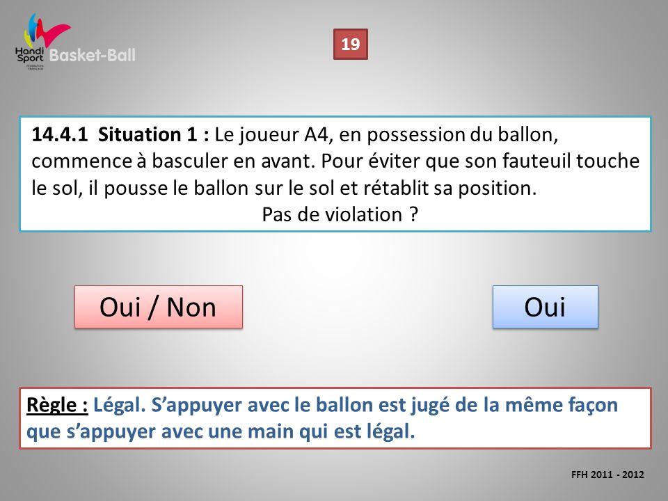 14.4.1Situation 1 : Le joueur A4, en possession du ballon, commence à basculer en avant.