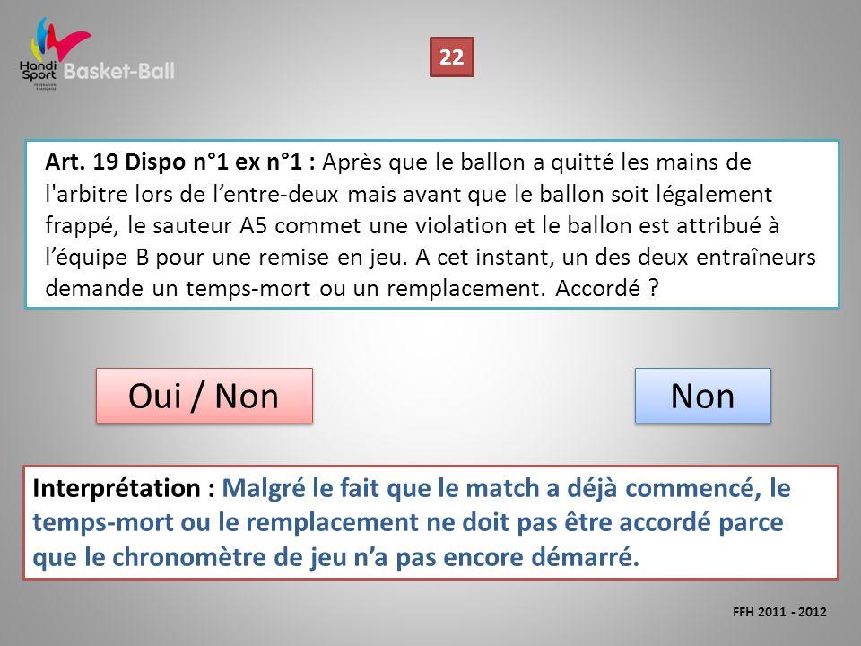 Art. 19 Dispo n°1 ex n°1 : Après que le ballon a quitté les mains de l'arbitre lors de lentre-deux mais avant que le ballon soit légalement frappé, le