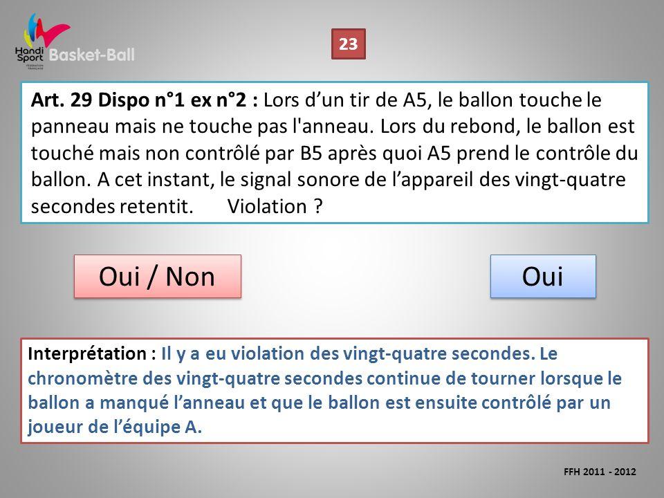Art. 29 Dispo n°1 ex n°2 : Lors dun tir de A5, le ballon touche le panneau mais ne touche pas l'anneau. Lors du rebond, le ballon est touché mais non