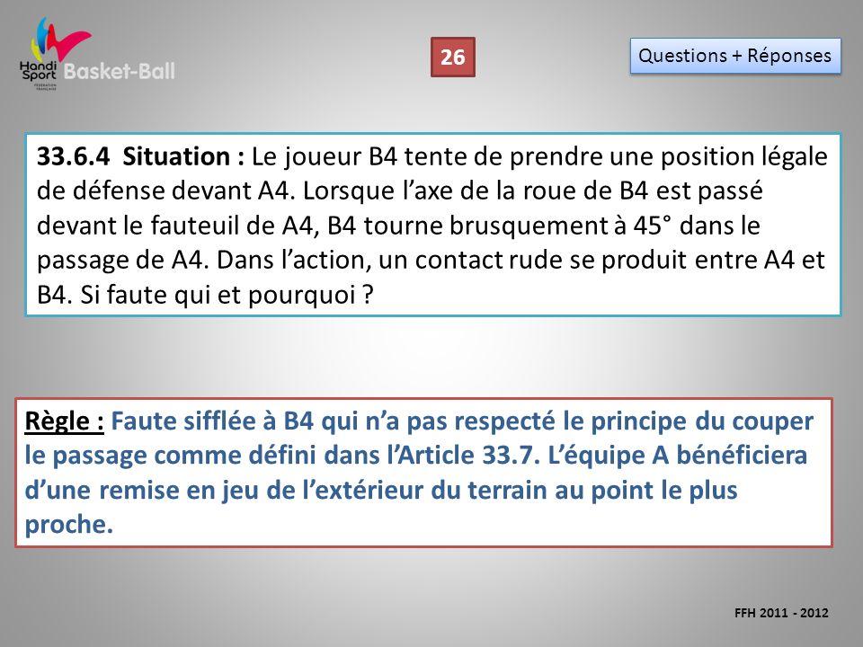 33.6.4Situation : Le joueur B4 tente de prendre une position légale de défense devant A4.