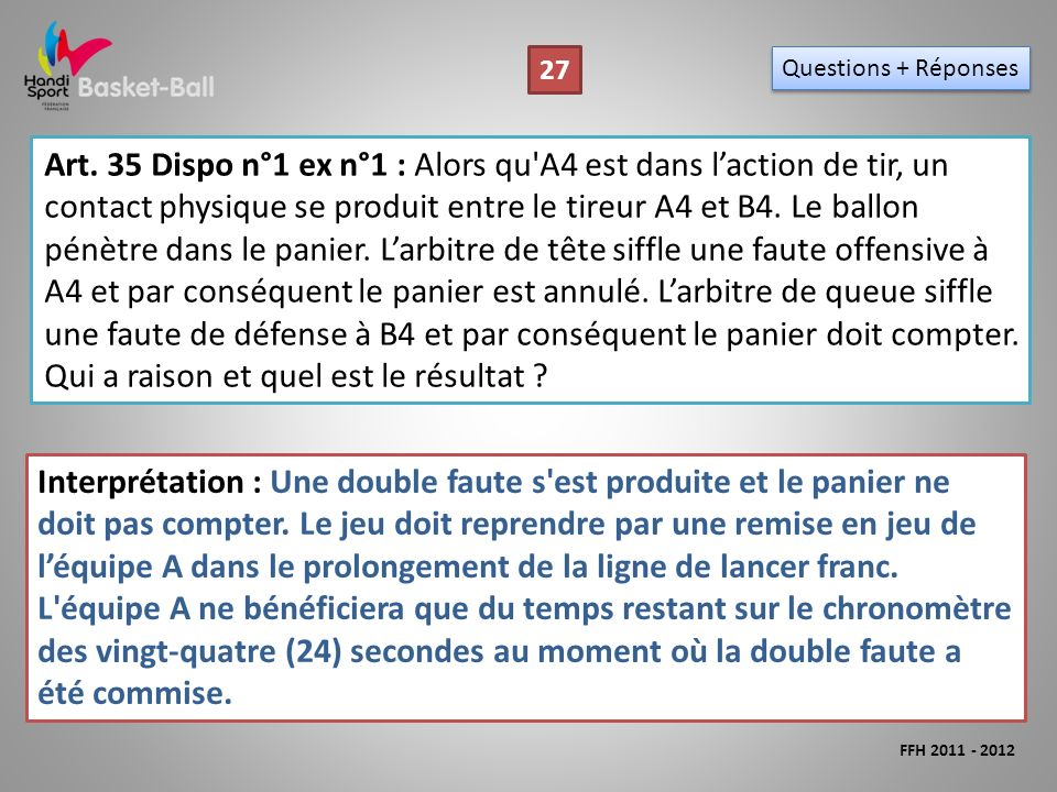 Art. 35 Dispo n°1 ex n°1 : Alors qu'A4 est dans laction de tir, un contact physique se produit entre le tireur A4 et B4. Le ballon pénètre dans le pan